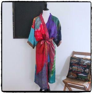 Indian Silk Robe Kimono Patchwork Sari Vintage M